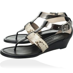Coach Leather/Snakeskin 'Velvet' Wedge Sandals
